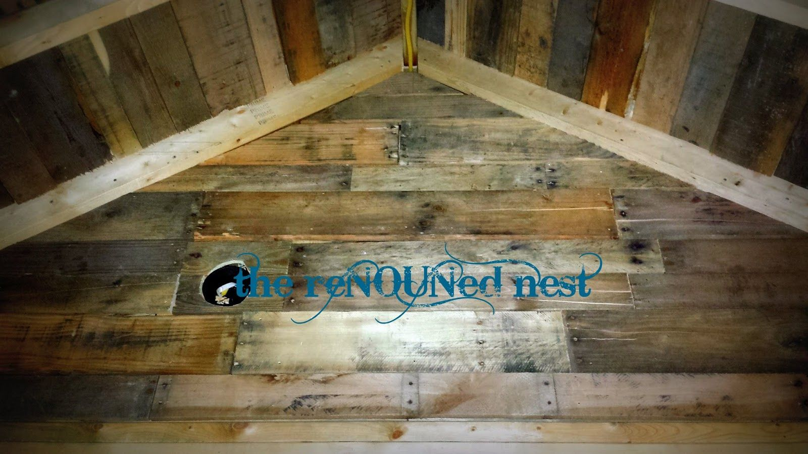The renouned nest: playhouse progress: pallet board ceiling ...
