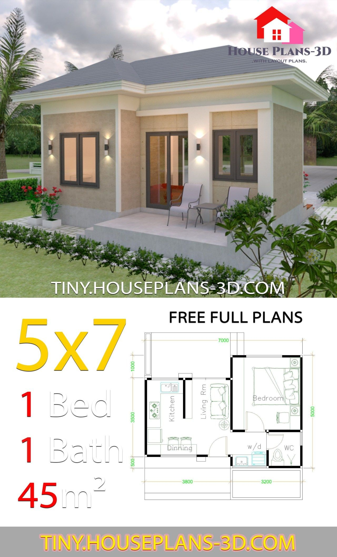 Small House Design Plans 5x7 With One Bedroom Hip Roof Tiny House Plans One Bedroom House House Roof Design Small House Design Plans