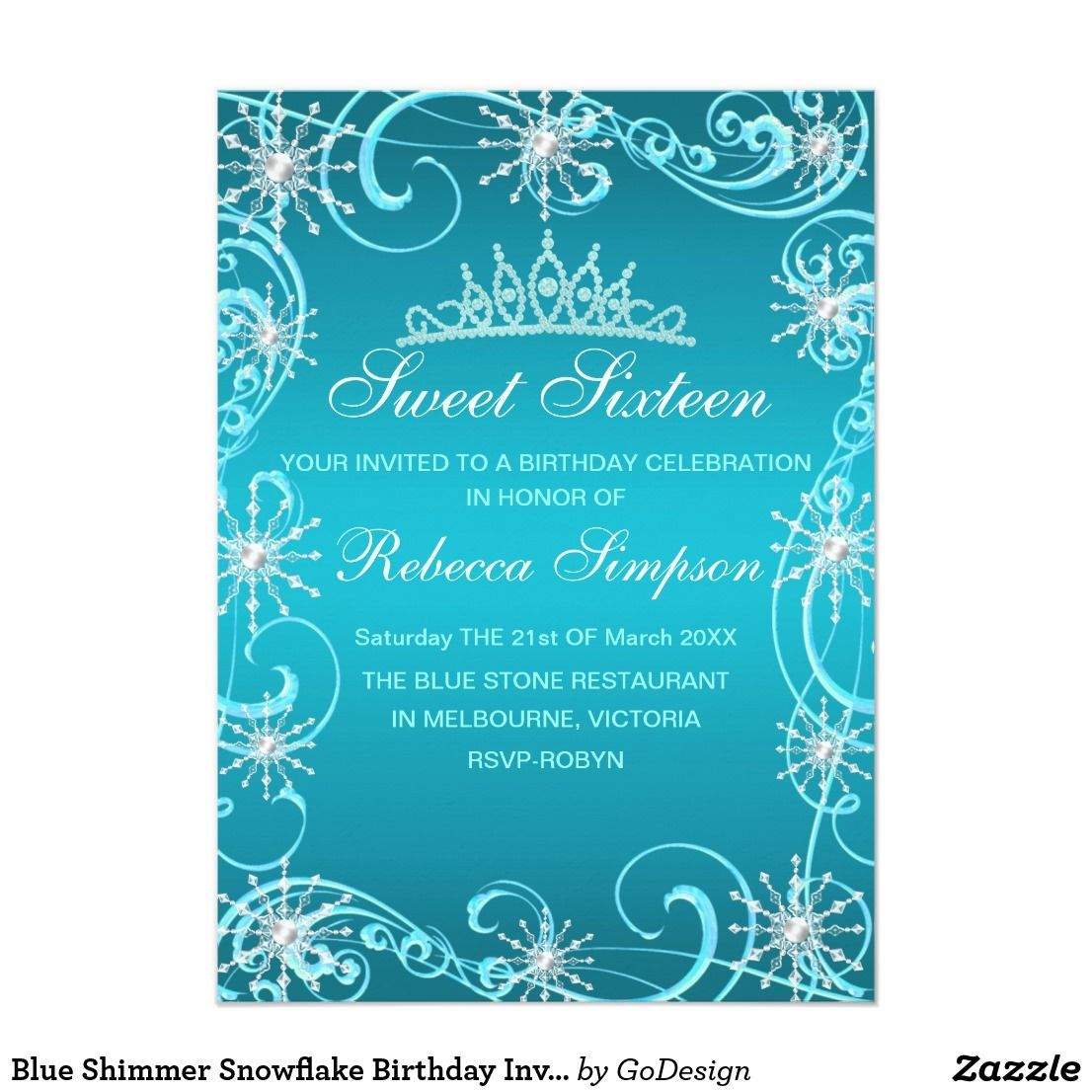 blue shimmer snowflake birthday invite