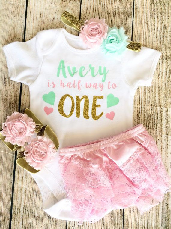 50270f02c80c Personalised Half Birthday Outfit Bodysuit by FunkyBubbaloo