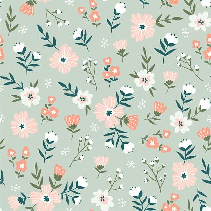 Trendy Seamless Floral Pattern Fabric Design With Simple Flowers Fabric Patterns Design Floral Pattern Wallpaper Flower Illustration