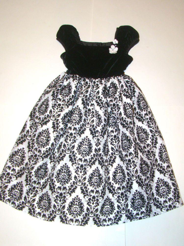 George Black White Velvet Velour Floral Flower Fancy Party Easter Dress Girls 6X #George #DressyHolidayPageantWedding