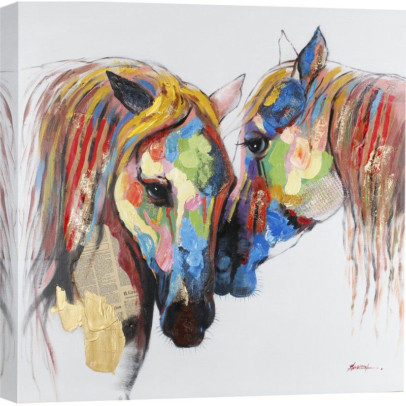 'Colored Horses' Painting Print on Wrapped Canvas Horse