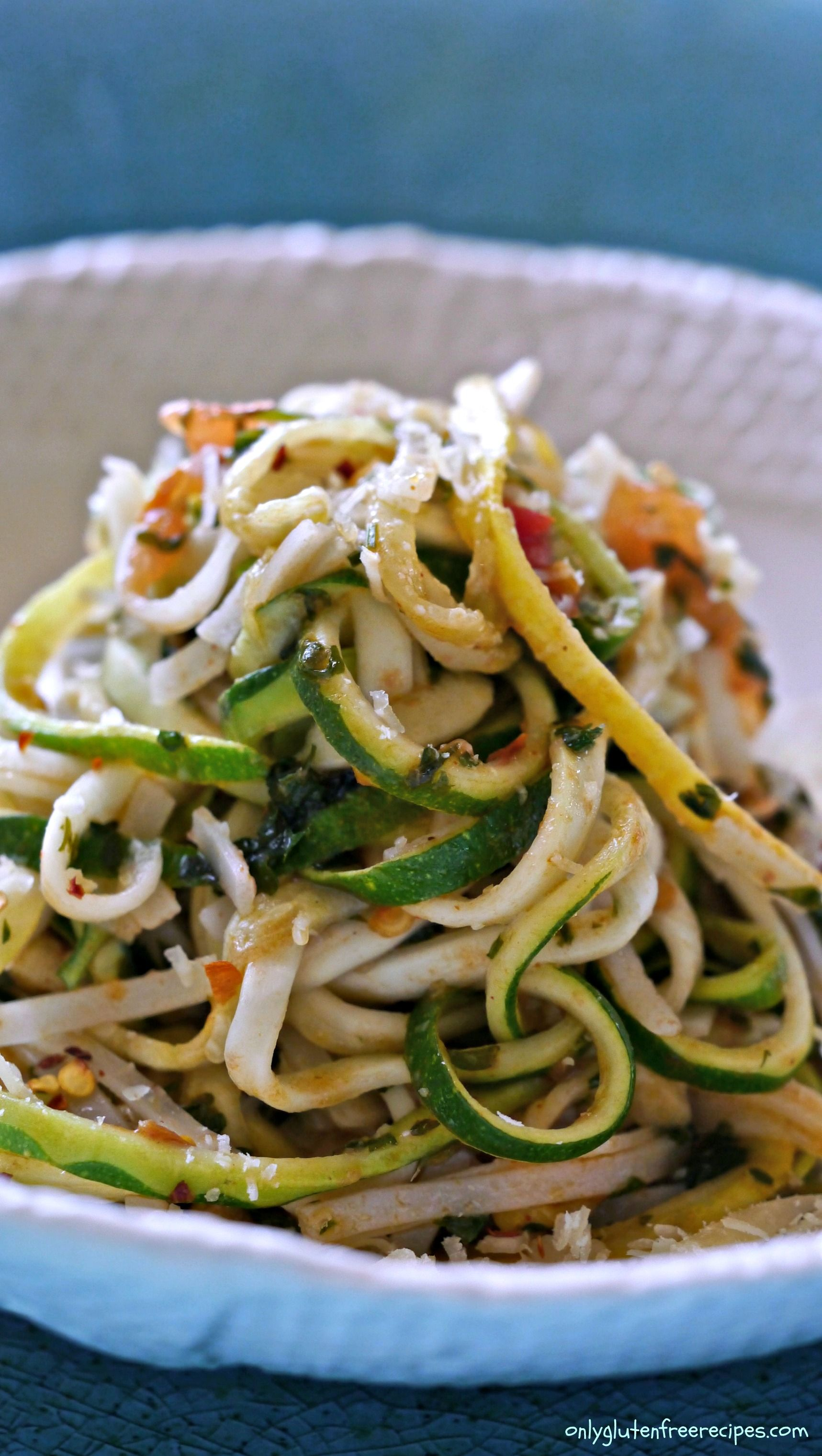 Gluten Free Zucchini And Rice Noodles Pasta