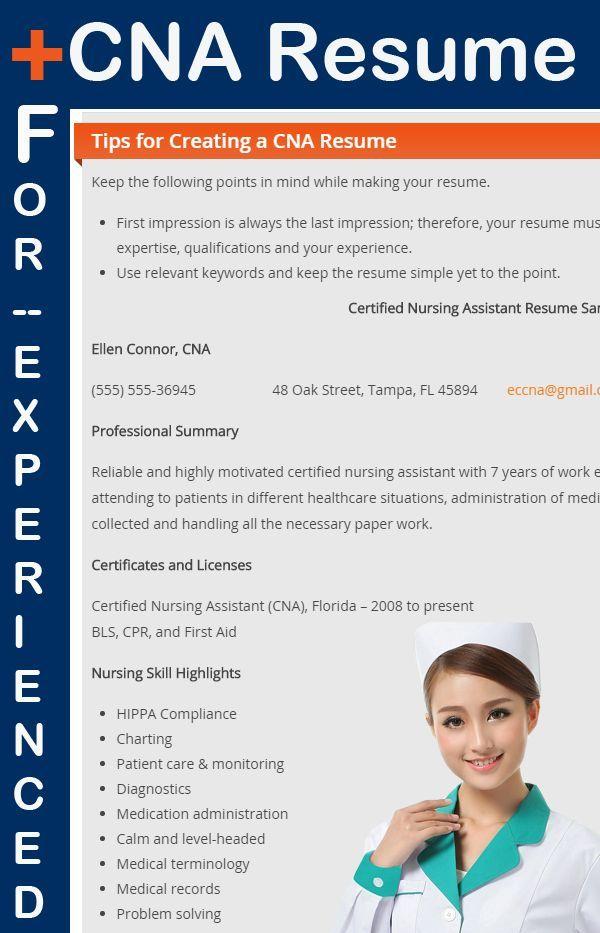 CNA Sample Resume for Experienced Sample resume and Certified nurse - certified nursing assistant resume samples