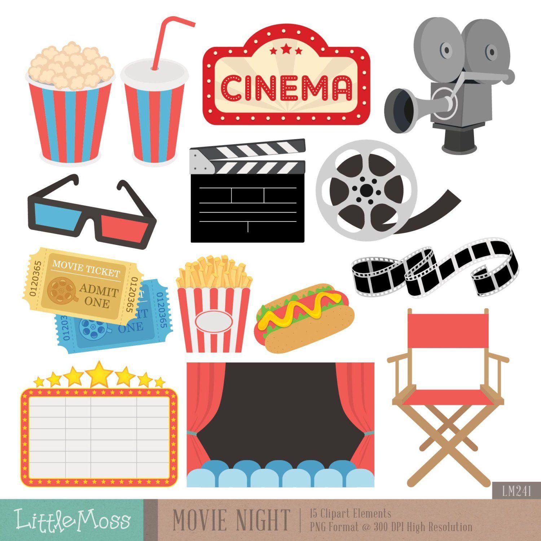 Movie Night Digital Clipart Etsy Movie Clipart Movie Night Clip Art