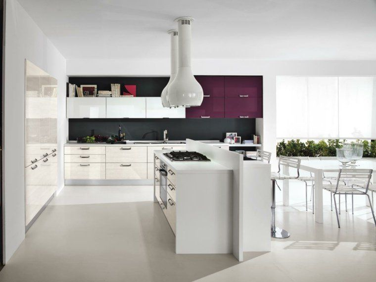 cuisine en l moderne avec îlot en 108 photos magnifiques - Plan De Cuisine Moderne Avec Ilot Central