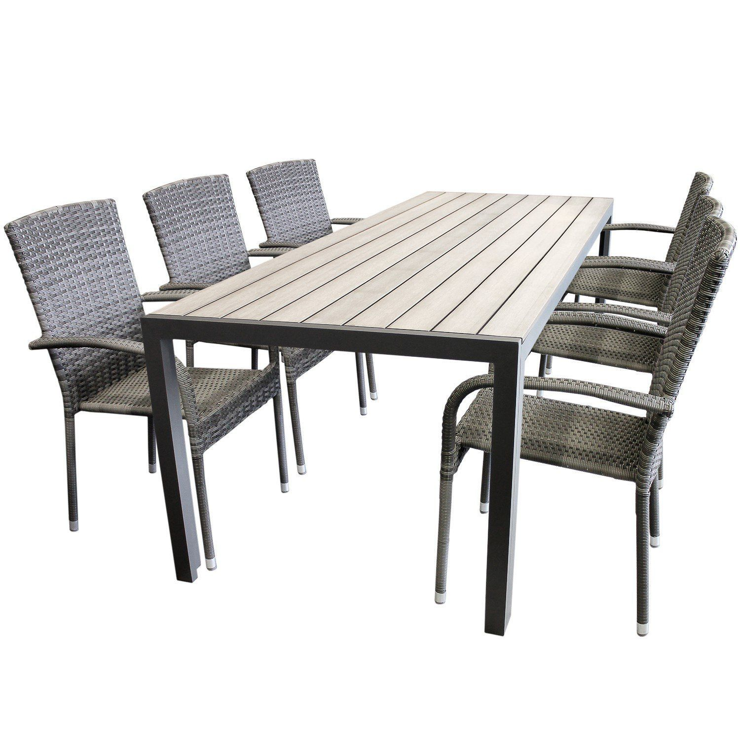 Gartentische Non Wood 268 All Amazon De Elegant 7tlg Garden Furniture Aluminum
