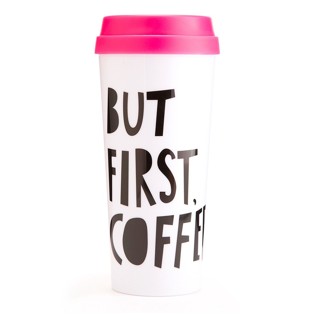 But First Coffee Plastic Insulated Travel Mug With Hot Pink Lid