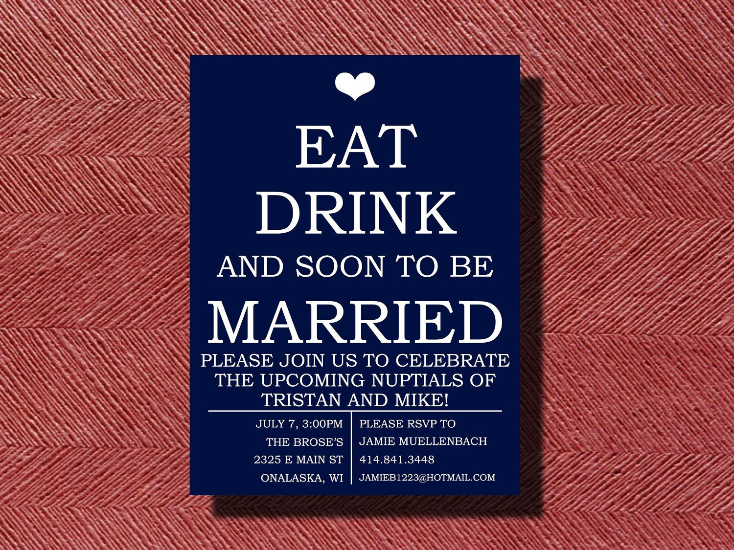 Engagement Party Invitation, Eat Drink and be Married Engagement ...