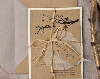 Custom listing (100) Rustic Wedding Invitation, Recycling Paper,Tree Wedding Invitation, Garden wedding invitation, Birds in love invitation