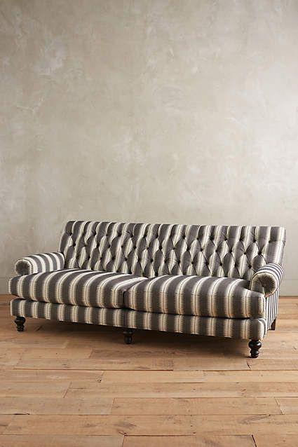 Suren Striped Fan Pleat Sofa Unique
