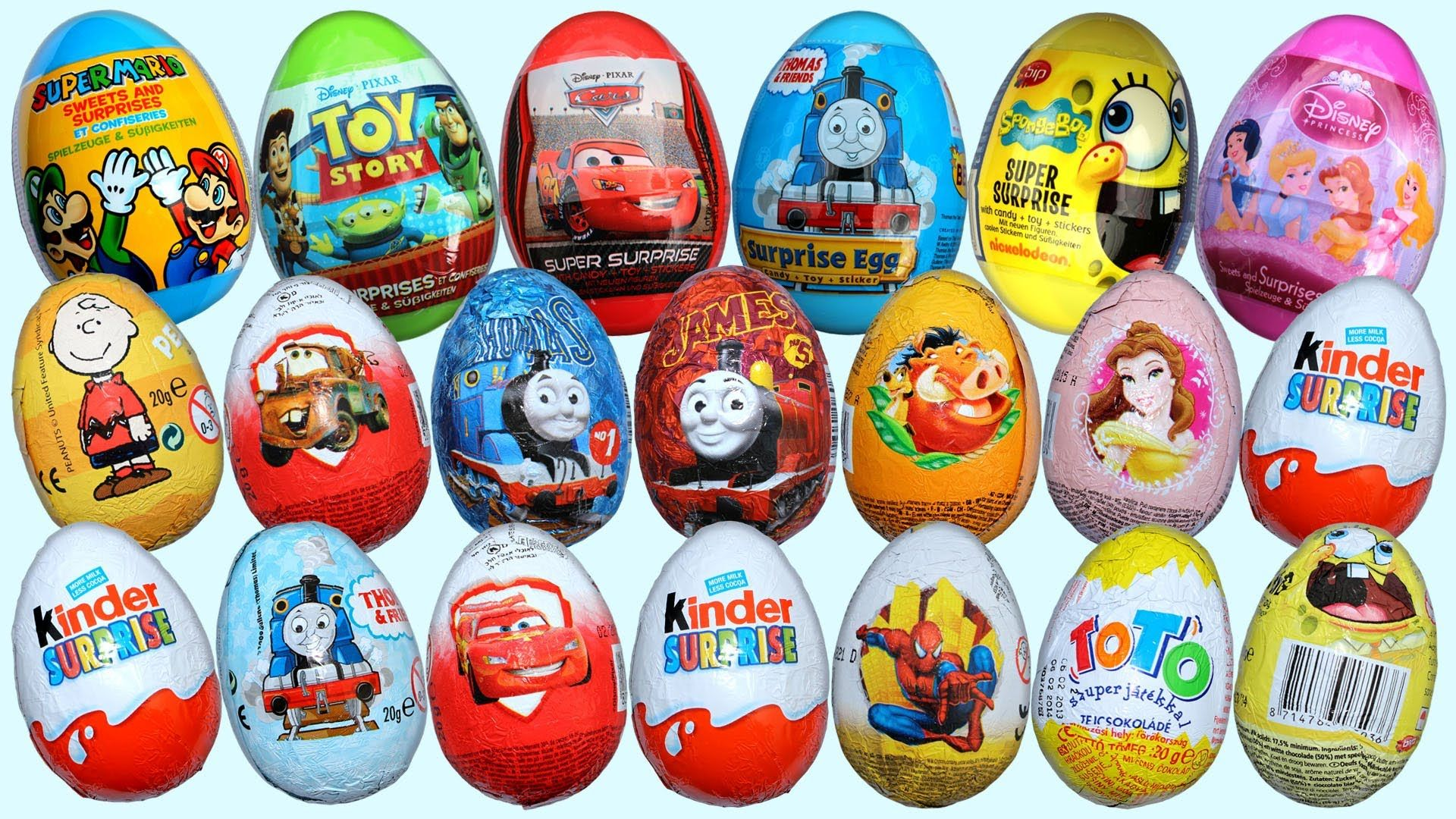Chocolate Eggs with Prize Inside (Kinder Eggs | Disney, Cars and ...