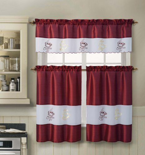 3 Piece Kitchen Window Curtain Set : One Valence And Two Tiers, Embroidered Coffee  Cup Part 54