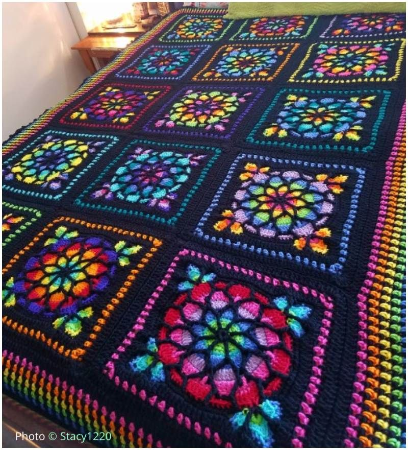 Stained Glass Afghan Crochet Square Free Crochet Squares