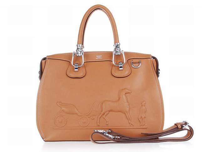 2016 Hermes Horse Draw Carriage Embossed Brown Silver Bag   Hermes ... 270f798a7f