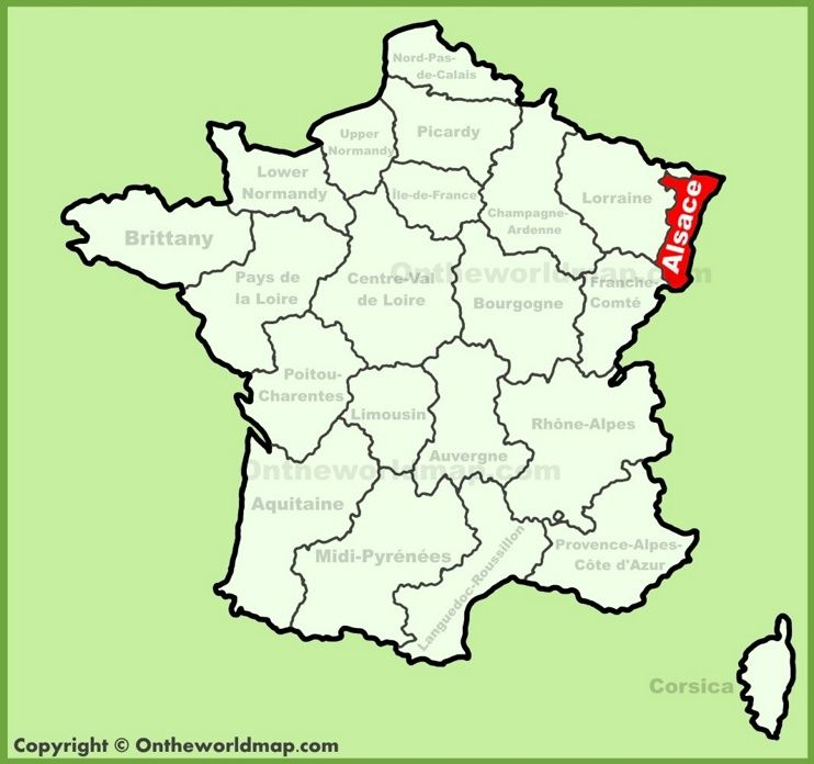 Alsace location on the France map Maps Pinterest France map