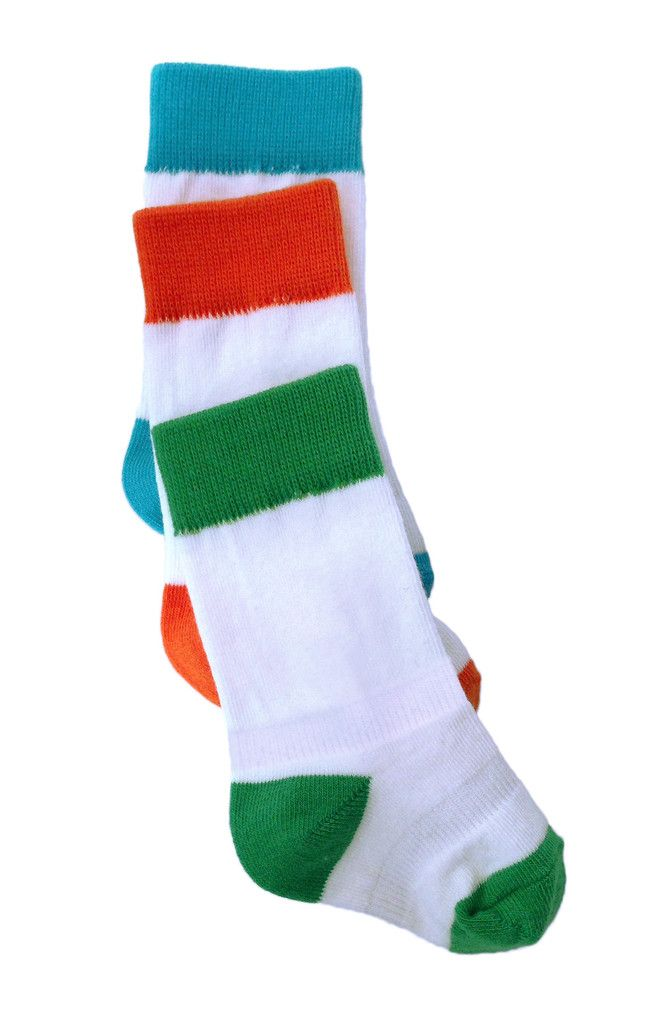 Cheski Baby Socks 3 Pack Blue Green Orange No Slip Baby Socks