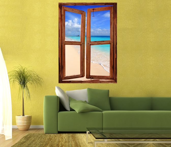 Tropical Beach Scenes Illusions | Wim83   Caribbean Tropical Turquoise Beach  Window Scene Wall Mural .