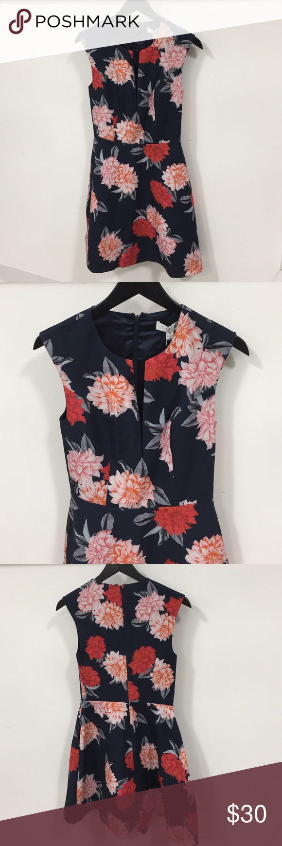 SHILLA Floral Dress Fit and flare navy and coral dress SHILLA Dresses