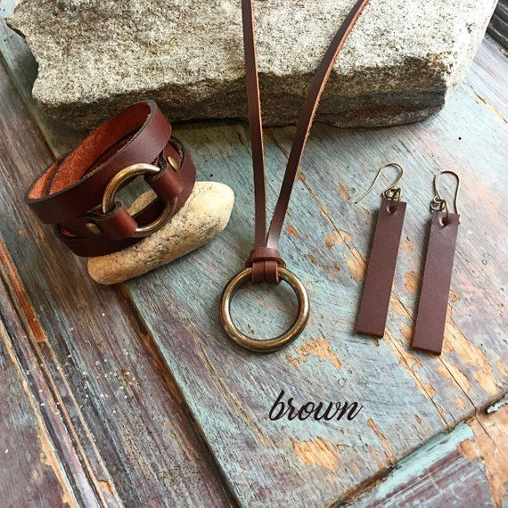 Photo of Leather and Brass Jewelry for Women | Leather Earrings | Leather Bracelet | Leather Necklace | Boho Jewelry | Anniversary Gift