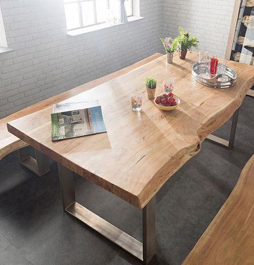 tavolo-da-pranzo-top-massello-gambe-in-metallo | tavoli ... - Tavoli Da Cucina In Legno Massiccio