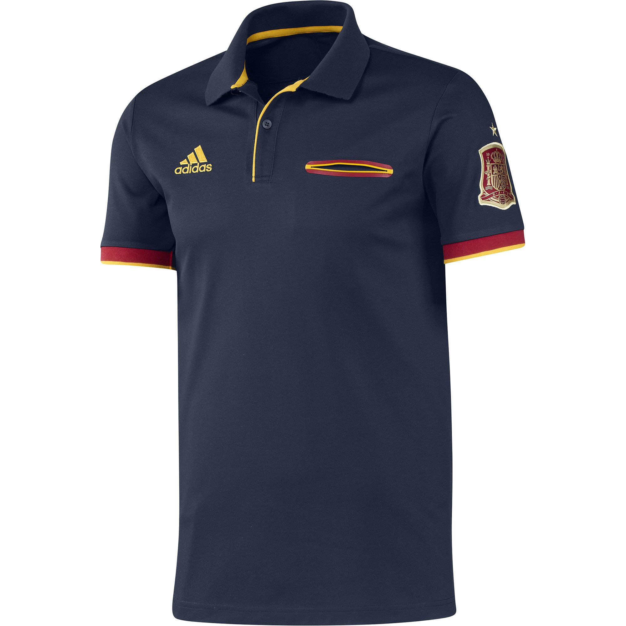 Spain Adidas navy blue mens cotton blend world cup football polo shirt