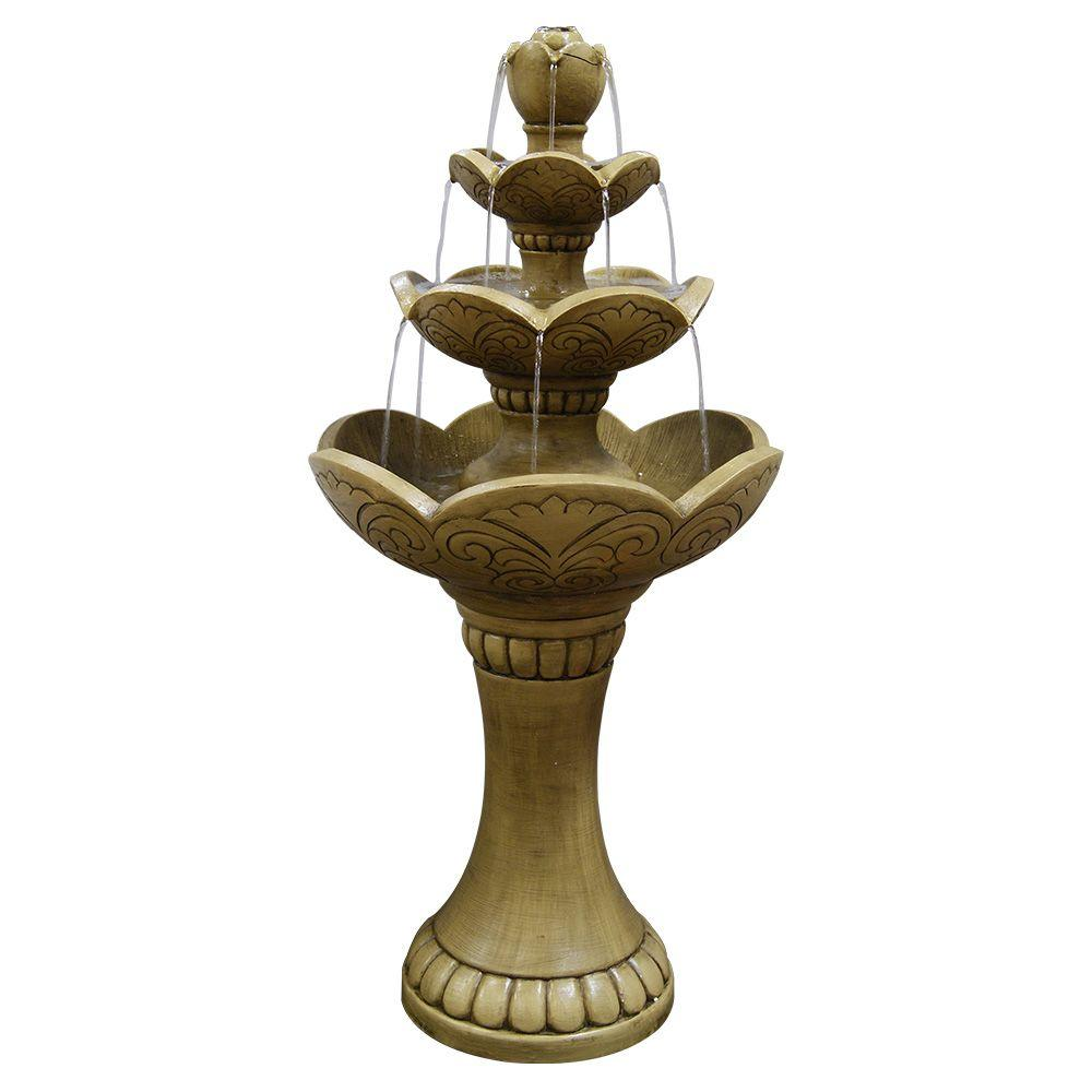 38 in. 3-Tier Lotus Fountain, Gray | Pinterest | Lotus and Fountain