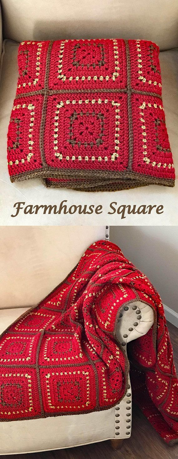 Crochet Blanket Pattern - Chunky Squares Crochet Baby Blanket - Farmhouse Square Throw - Pattern by Deborah O'Leary Patterns #crochet #baby #babyblanket