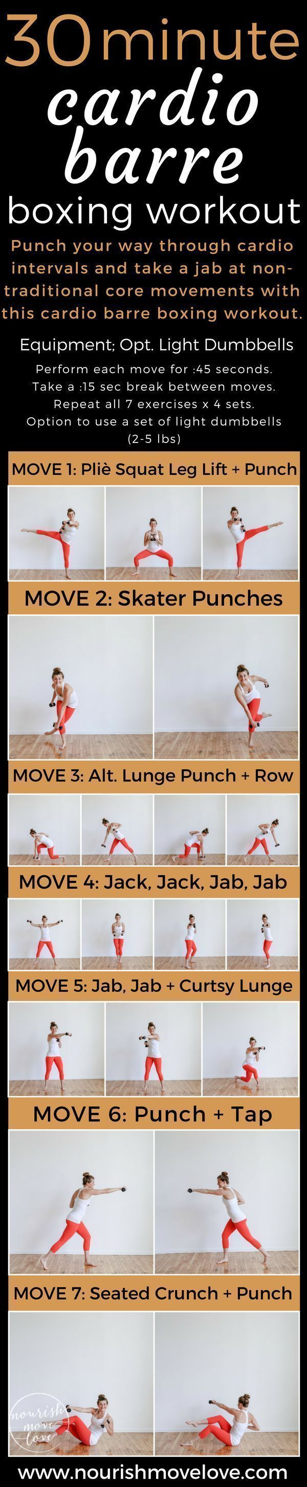 30-Minute Cardio Barre Boxing Workout #cardiobarre 30-Minute Cardio Barre Boxing Workout. Punch your way through this 30-minute cardio barre boxing workout pairing pliè squats with boxing cardio intervals and non-traditional core movements. | www.nourishmovelo... #cardiobarre 30-Minute Cardio Barre Boxing Workout #cardiobarre 30-Minute Cardio Barre Boxing Workout. Punch your way through this 30-minute cardio barre boxing workout pairing pliè squats with boxing cardio intervals and non-traditio #cardiobarre