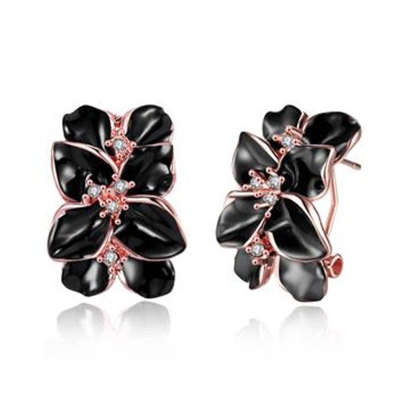 Three Color Gold Flower Clip Earrings Trendy Fashion Beautiful Zircon Jewelry For Women 003