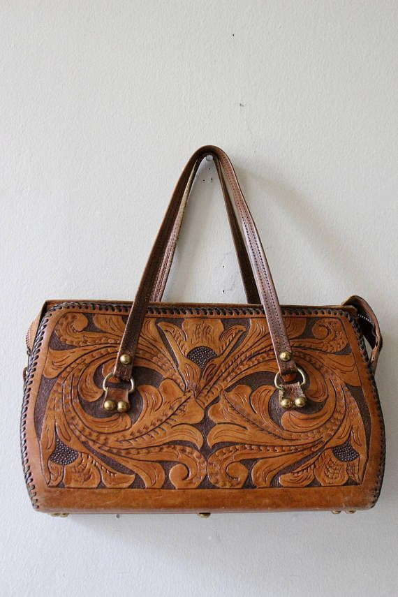 2f5325fe7a 70s brown leather tooled purse. Mexican tooled leather medium sized purse.  The middle zips