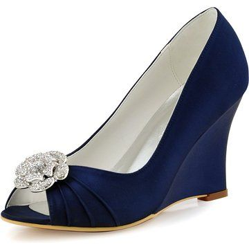 688d58cb3073 Elegantpark WP1547 Women Wedges AF01 Removable Shoe Clip Peep Toe  Rhinestones Satin High Heel Wedding Shoes