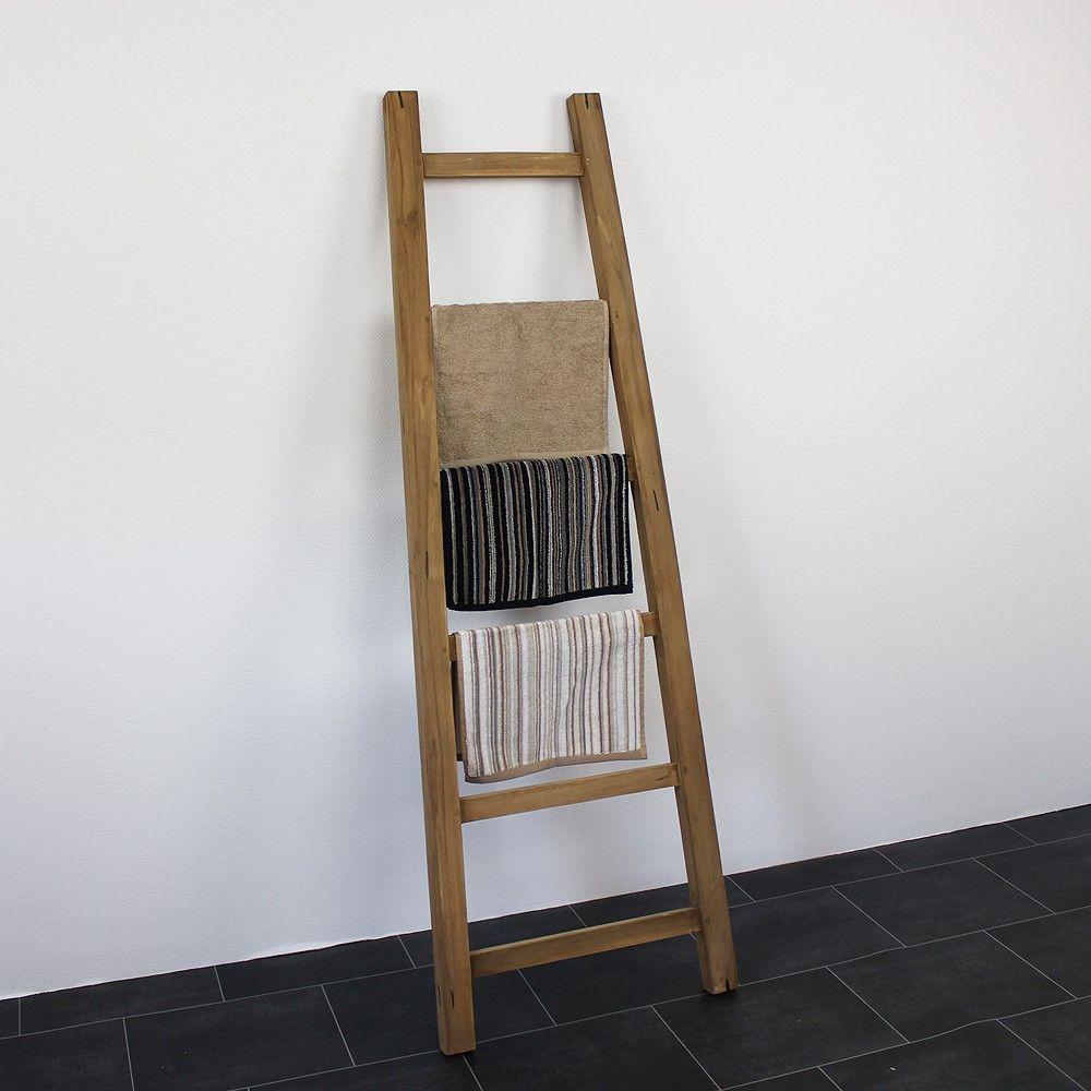 Houten decoratie ladder ideaal voor in de badkamer for Houten decoratie