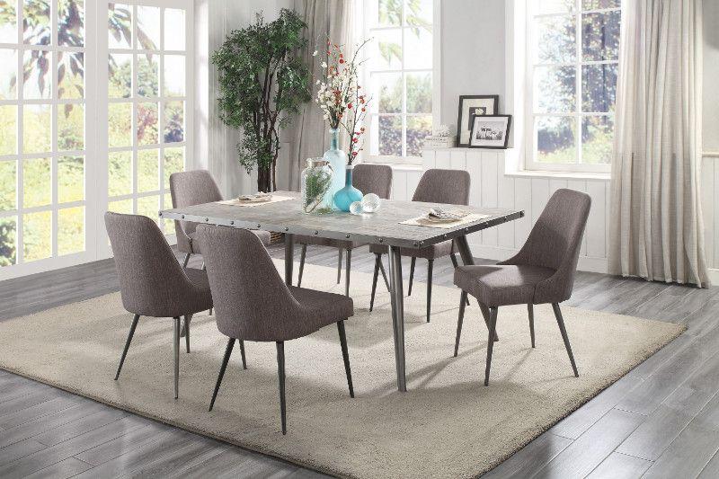 Homelegance He 5626 70 7pc 7 Pc Palladium Gray Tone Metal Legs Grey Top Dining Table Set Mid Century Dining Room Set Dining Room Sets Grey Dining