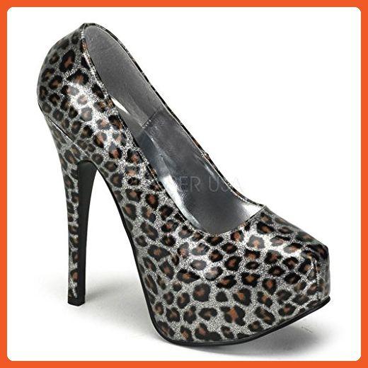 Women's Bordello Teeze-37 Cheetah Glitter Concealed Platform Pump Silver 7  - Pumps for women