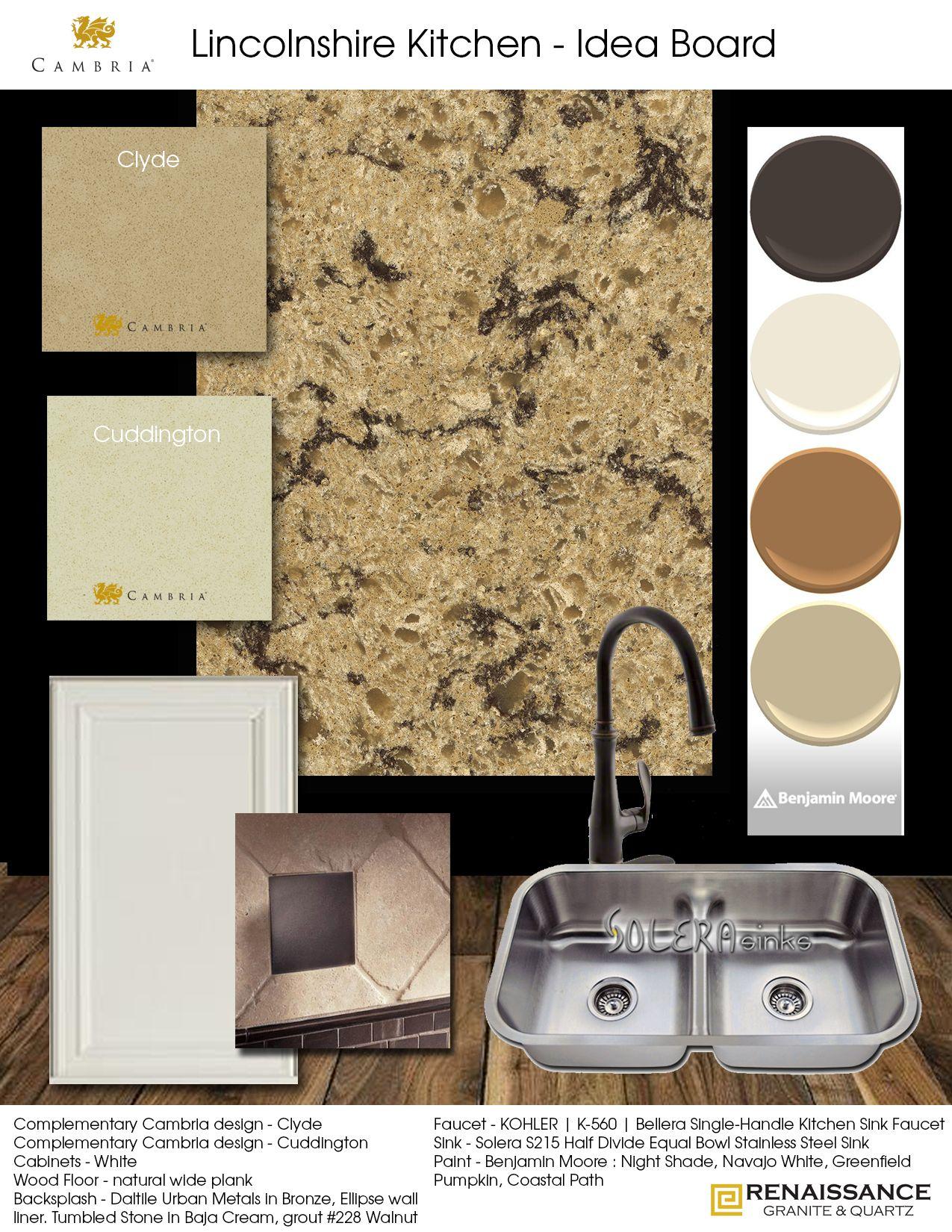 Cambria clyde kitchen and bathroom countertop color -  Cambria Lincolnshire Kitchen Idea Board