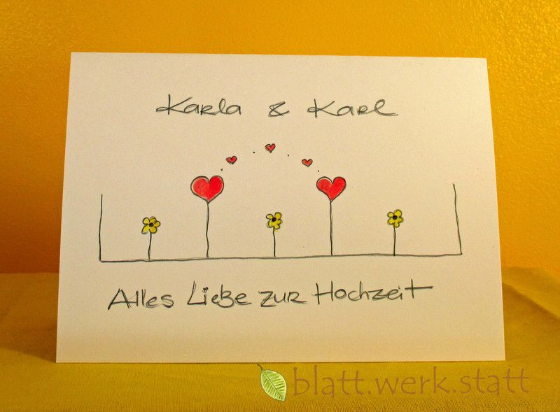 gl ckwunschkarte hochzeit individuell handgemalt cards cards diy and homemade cards. Black Bedroom Furniture Sets. Home Design Ideas