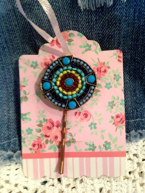 Medallion Beaded Hair Pin Ornament. by PeaceLoveHandmades on Etsy