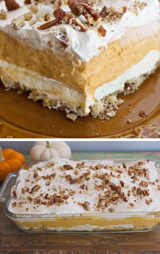Pumpkin and chocolate go together like peanut butter and jelly in this Thanksgiving dessert. The chocolate wafer crust adds an extra layer of decadence that'll really make guests swoon.