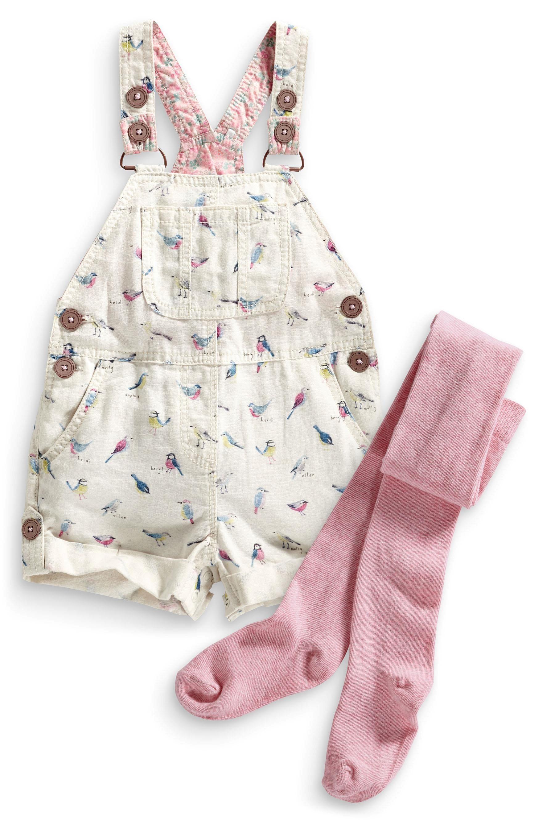 Baby pink dungaree dress  Bird Print Linen Blend Dungarees And Tights Set  Adelaideus Closet