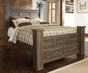 Signature Design By Ashley B251706866S99 Juararo Collection King Size Poster Bed with Footboard Storage, Warm Pewter Color Drawer Handles and Replciated Oak Grain in Aged Brown