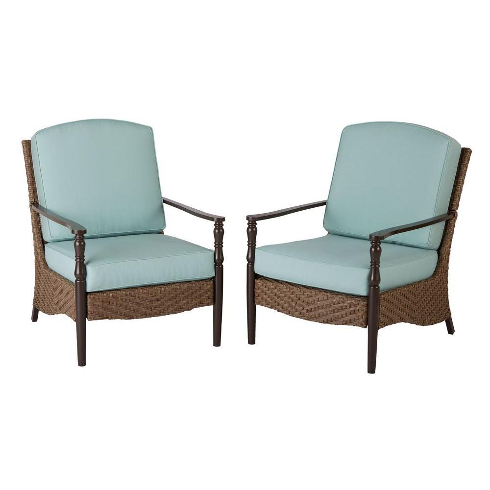 Hampton Bay Bolingbrook Lounge Patio Chair With Spectrum Mist Cushion 2 Pack