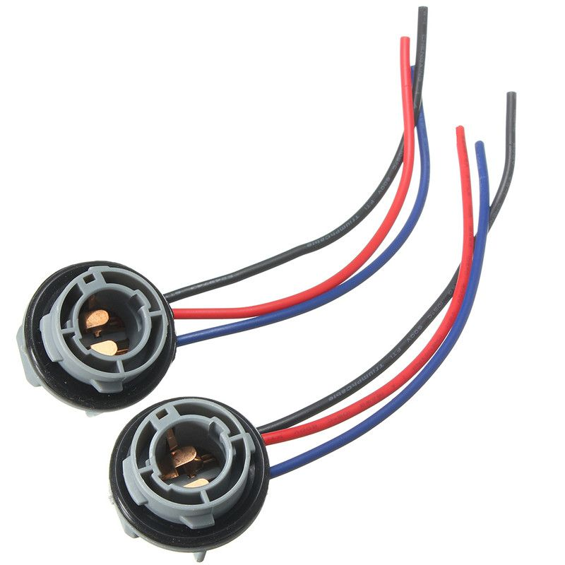 2 יחידות עבור רכב הפעל הנורה האיתותים פנס אור 1157 2057 2357 Bay15d P21 4 10 ס מ רכב מנורת Socket מתאם לרתום מחבר חיווט Lamp Socket Light Bulb Bulb