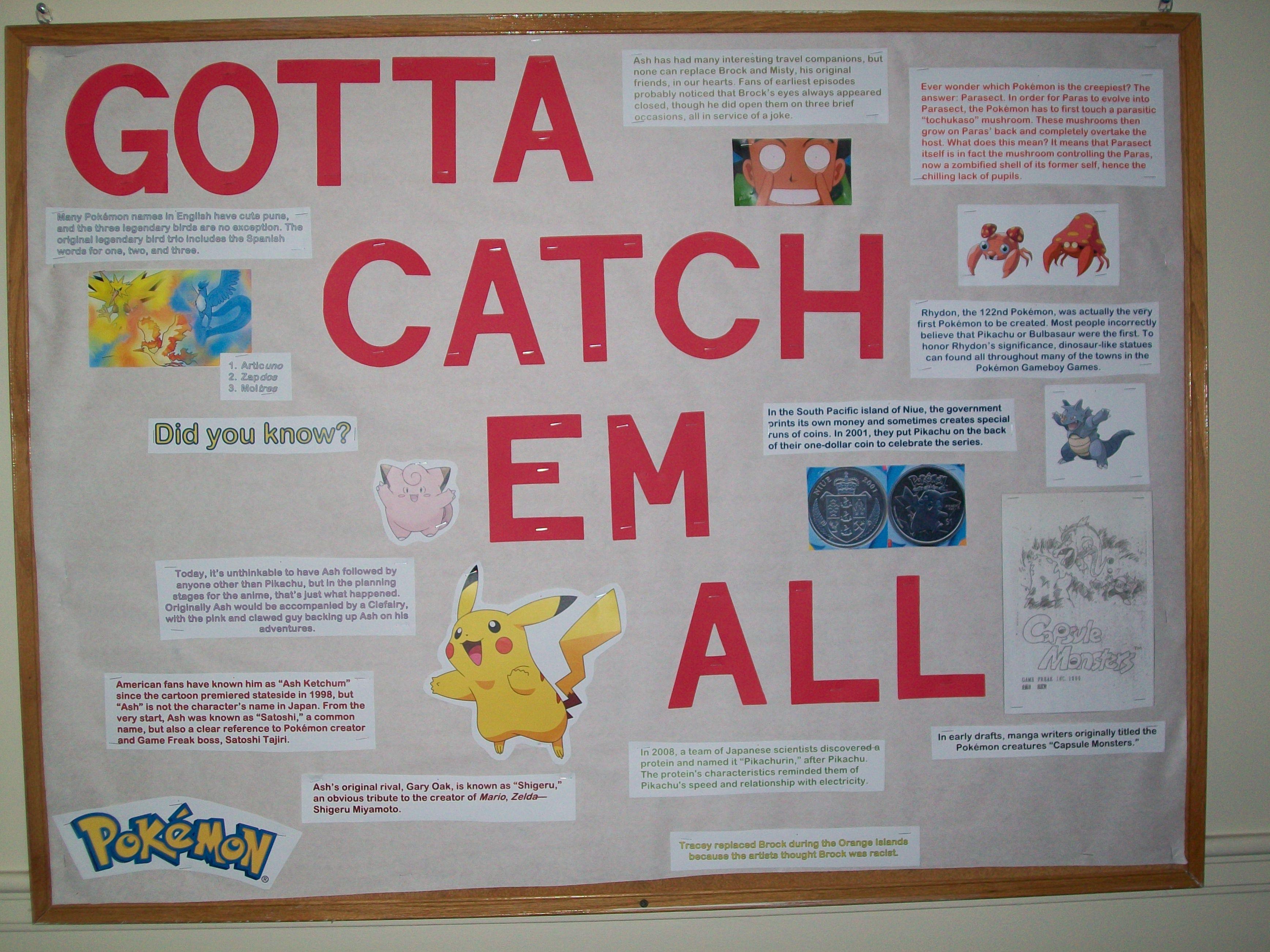 Pokemon fact board to go with my Pokemon door decs   Door ...