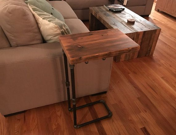 Reclaimed Wood C Table Side Table Diy Side Table Diy End Tables