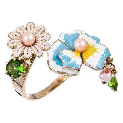 Anello regolabile Balade en rêve  Colori: oro antico, blu e rosa Les Néréides #venteprivee
