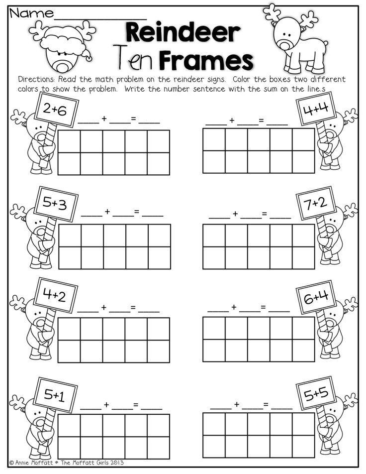 Reindeer Ten Frames! Simple math problems with ten frames! | All ...