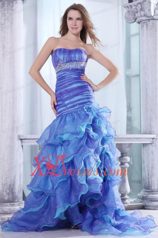 1dd0a8bfb07 Strapless Beading and Ruffles Layered Mermaid Purple and Blue Prom Dress