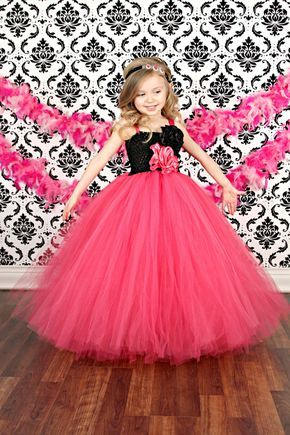 Hot Pink And Black Flower Girl Wedding Couture Tutu Dress Quotes